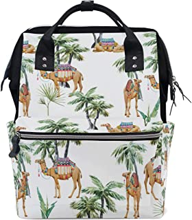 Backpack for Men Women, Watercolor Camel and Palm Casual Water-Resistant College School Backpack