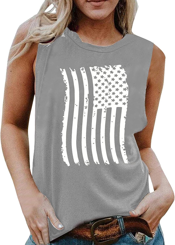 USYFAKGH Tank Top Women 4th of July Camo Patriotic Racerback Tank Sleeveless Tee Shirt