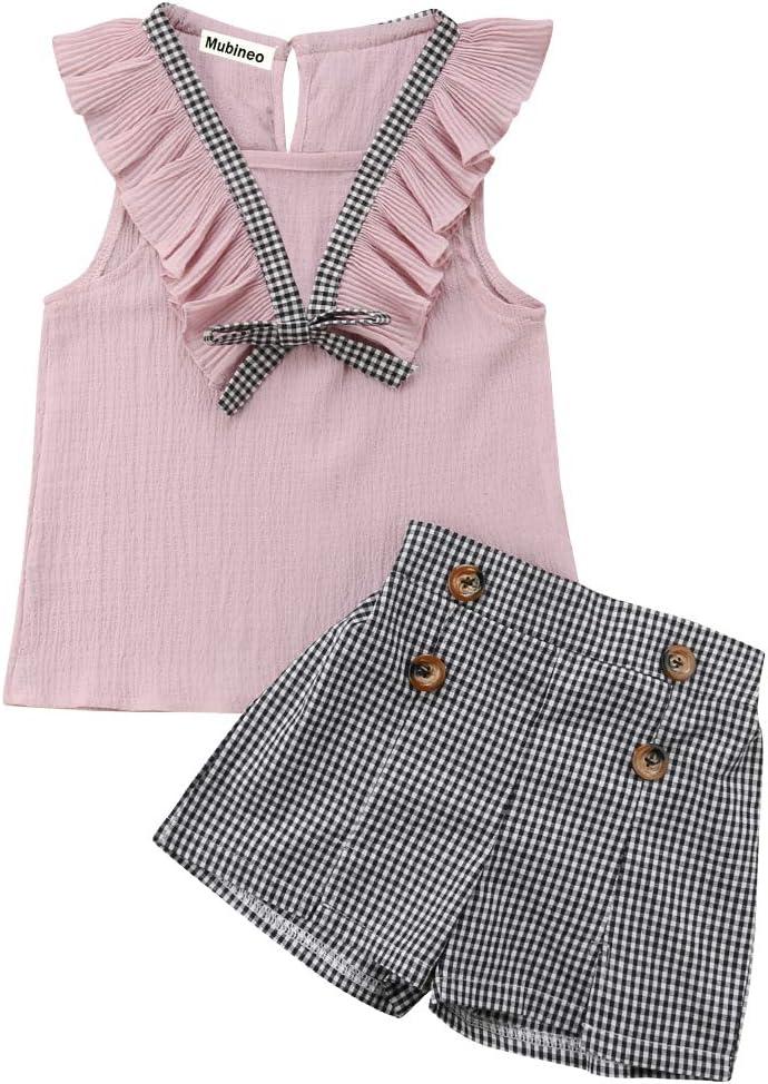 ملابس صيفية للأطفال الصغار البنات بلا أكمام قمم زهرة منقوشة زر مجموعة الملابس
