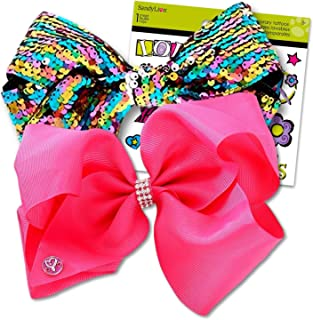 JoJo Siwa Bows Signature Collection Hair Bows in A Box for Girls - JoJo Bow Bundled with Best Friends Forever BFF Temporary Tattoos (JoJo 2 Bows Pink & Rainbow Sequins)