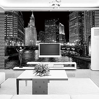 Papel Pintado Fotográfico - Fotografía de la ciudad en blanco y negro de arte moderno - Tipo Fleece no-trenzado Salón Dormitorio Despacho Pasillo decoración de paredes moderna 400 x 280 cm