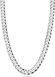 "MiaBella Solid 925 Sterling Silver Italian 7mm Diamond Cut Cuban Link Curb Chain Necklace for Women Men, 16""-18""-20""-22""-2..."