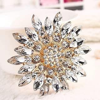 Bridesmaid Wedding Bouquet Alloy Bridal Rhinestone Flower Crystal Brooch   color - White