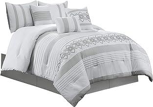 Chezmoi Collection Ariel 7-Piece Gray White Geometric Chenille Embroidery Pleated Striped Comforter Set, California King Size