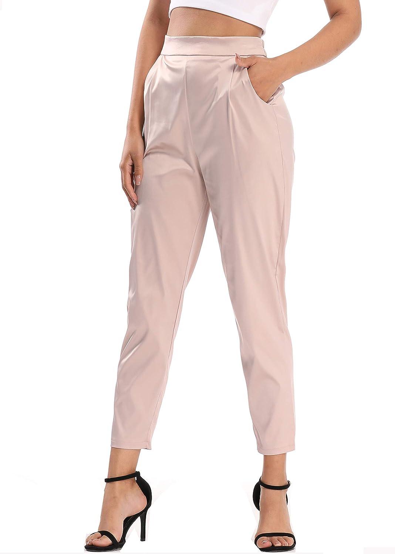 heipeiwa Women's Satin Pants Dress Casual Pleated Pull on High Waist Pants with Pockets