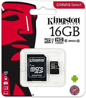بطاقة ذاكرة ميكرو اس دي اتش سي 16 جيجابايت الفئة 10 كانفس سليكت فائقة السرعة من كينجستون - سرعة قراءة 80 ميجابايت/ثانية