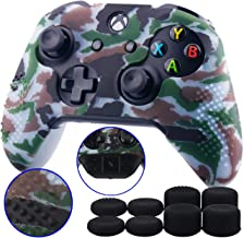 9CDeer Studded Protective Customize Transfer Printing Silicone Cover Skin Sleeve Case + 8 Thumb Grips Analog Caps for Xbox One/S/X Controller Camouflage clear Compatible with Official Stereo Headset