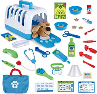 FunLittleToy Pet Care Play Set-34 Pieces, Vet Clinic and Cage Pretend Play for Kids