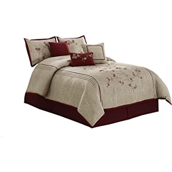 Queen Chezmoi Collection 7-Piece Red Floral Hibiscus Embroidery Beige Comforter Bedding Set
