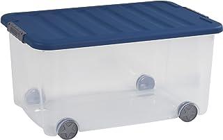 CURVER Dessous de Lit Scotti 35L - Boîte de Rangement à Roulettes - Coffre Transparent à Glisser sous le Lit - Idéal pour ...