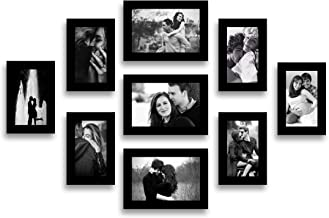 Swadesi Stuff Wooden Wall Hanging Black Photo Frame Collage - Set of 9