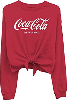 Ladies Coca Cola Fashion Shirt - Coke Classic Logo Tie Front Long Sleeve Tee