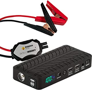 Rugged Geek RG1000 Safety GEN2 1000A Portable Car Jump Starter, Battery Booster Pack and Power Supply with LCD Display, INTELLIBOOST Smart Cables, LED Flashlight, USB & Laptop Charging. Metal Clamps.