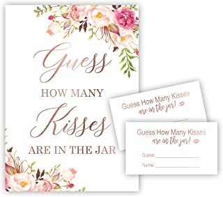 Blush Pink Guess How Many Kisses in the Jar Shower Game (48 Cards + 1 Sign) (Floral) - NOT FOIL