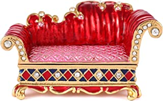QIFU Sofa Series Hand Painted Hinged Jewelry Trinket Box with Rich Enamel and Sparkling Rhinestones Unique Gift Home Decor