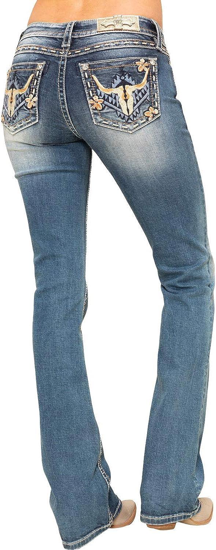 M3506b Miss Me Womens Medium Boho Long Horn 34 Bootcut Jeans