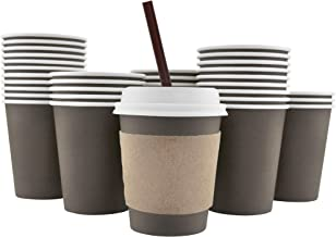 100 Pack - 8 Oz [12, 16, 20] [4 Colors] Disposable Hot Paper Coffee Cups, Lids, Sleeves, Stirring Straws - Mocha Brown
