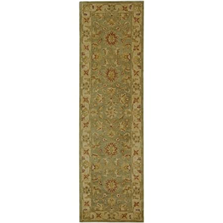 Amazon Com Safavieh Antiquity Collection At313a Handmade Traditional Oriental Premium Wool Runner 2 3 X 8 Green Gold Furniture Decor