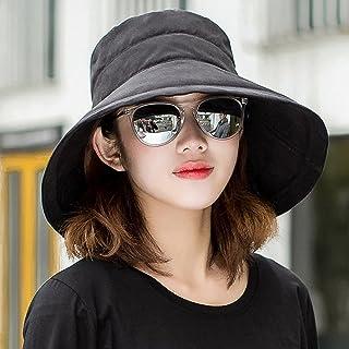 Ping BU Qing Yun Sombrero de Verano, Sombrero para el Sol Mujeres con protección UV Viaje de Playa Plegable con Borde Ancho, Flip Floppy, 5 Colores Opcionales Sombrero para el Sol (Color : Negro)