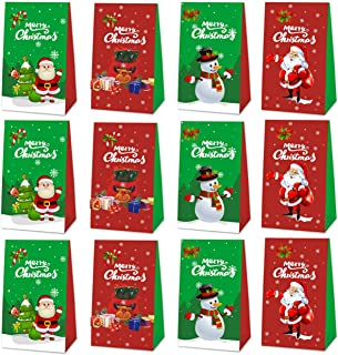 24 Packs Christmas Gift Bags, Santa Claus Party Supplies Decorations Treat Candy Bags, Gift Goodie Bags, School Classroom ...