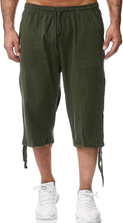 Aishang Cargo Shorts for Men Lightweight Elastic Waist Drawstring 3/4 Shorts Casual Sweat Short Pants with Pockets