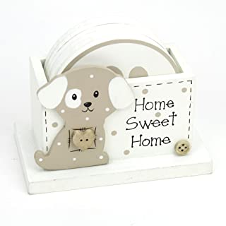 Kel-Toy Décor Wooden Dog Coaster Sets (6)