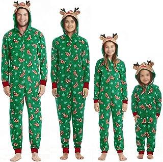 Matching Family Christmas Pajamas Set Hoodie Pajamas Reindeer Jumpsuit Romper Holiday Pjs One Piece Hooded Sleepwear for B...