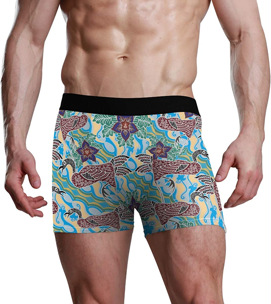 Mens Boxer Briefs Abstract Animal Peacock Flower Jaw-Dropping Low Rise Trunks Underwear Breathable Bikini Boys