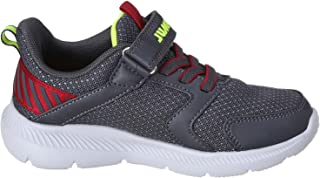 Jump Striped Panel Pull-Tab Velcro-Strap Lace-Up Sneakers for Boys - Charcoal Grey and Red