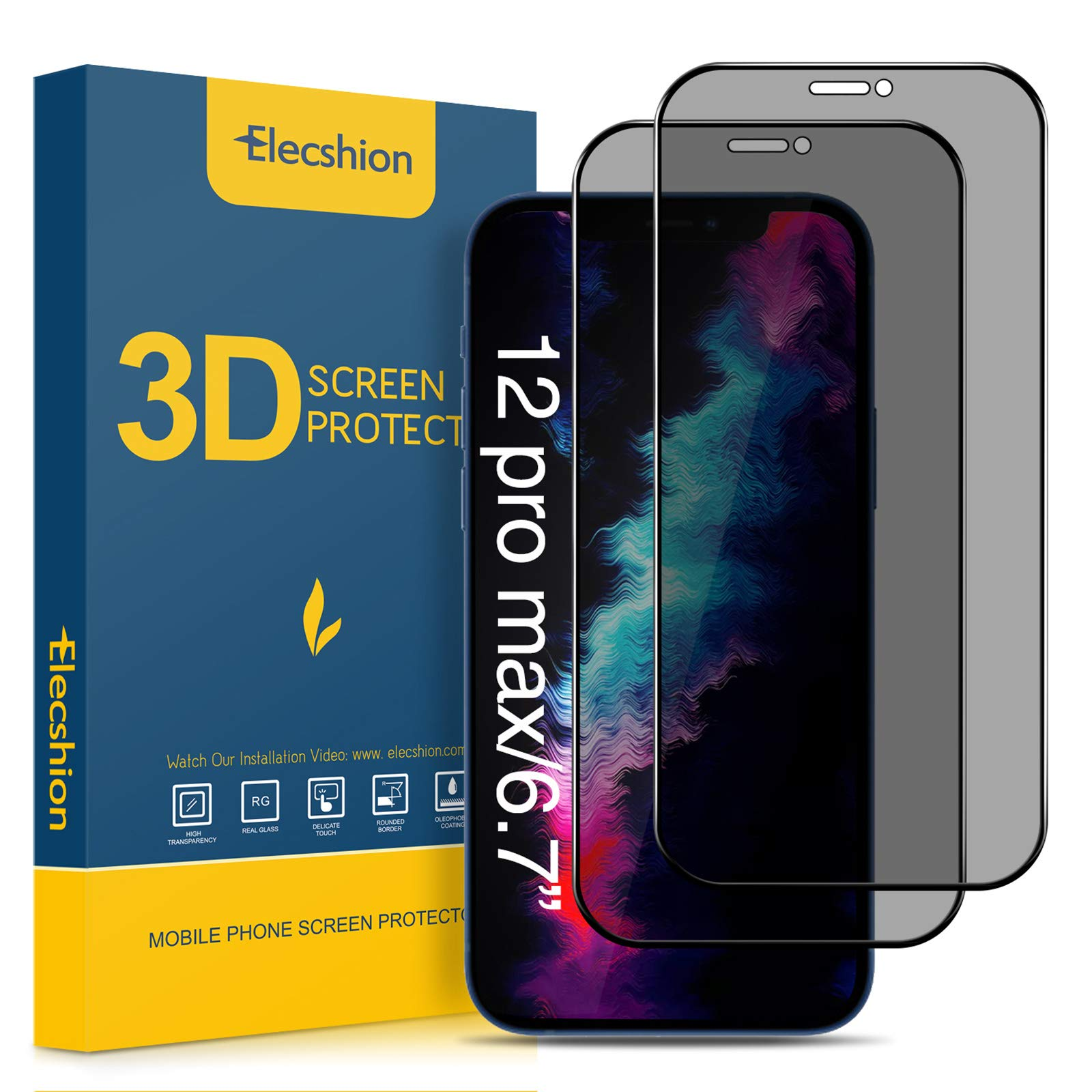 """Elecshion Compatible with iPhone 12 pro MAX (6.7"""") Privacy Screen Protector, (Double Strong)True 28° Anti-spy (Edge to Edge Full coverage)Tempered Glass Screen Protector with Easy Intallation Frame(2 Pack)"""