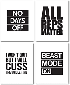 My Vinyl Story G3 Set of 4 Motivational Gym Wall Art Print Poster Inspirational Quote Decor for Modern Abstract Home Office Classroom Decoration Encouragement Gift
