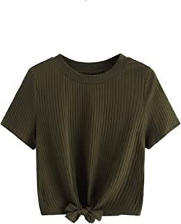 Romwe Women's Cute Knot Front Solid Ribbed Tee Crop Top T-Shirt