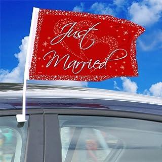 Folat Bröllop bil flagga 'Just Married' partydekoration röd-vit 40 x 30 cm ägg