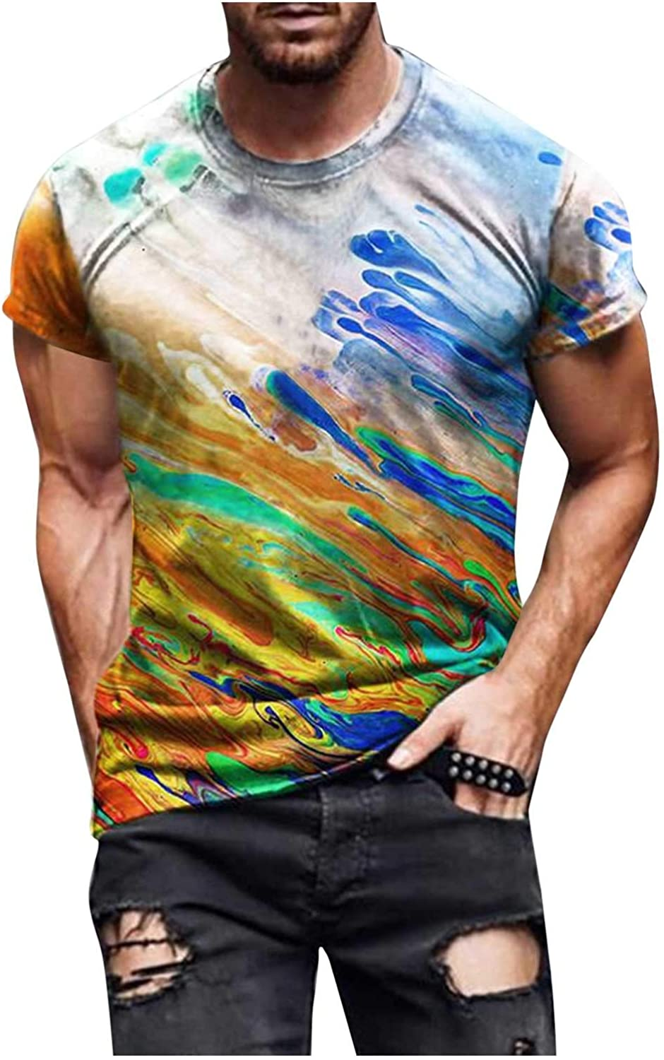 DZQUY Men's Summer Workout T Shirts Short Sleeve Casual Hipster Cross Belief Printed Collar Sports Muscle Shirts Tops Blouse