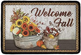 KUIFORTI Welcome Sunflower Fall Doormats for Outdoor Indoor Entrance,Non Slip Washable Modern Style Small Thick Door Mat w...
