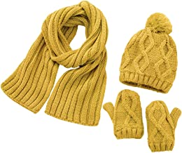 Iusun 1-6 Age Unisex Children's Three-Piece Winter Beanie Earmuffs Hat Warm Chunky Baggy Skull Slouch Stretch Cap with Pom Pom