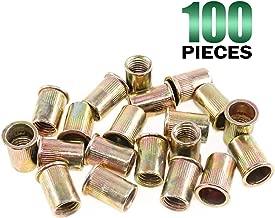 Keadic 100Pcs M12 Metric Zinc Plated Carbon Steel Rivet Nut Flat Head Threaded Insert Nutsert Kit (M12)