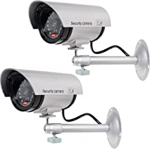 WALI Bullet Dummy Fake Surveillance Security CCTV Dome Camera Indoor Outdoor with 1 LED Light, Warning Security Alert Sticker Decals (TC-S2), 2 Packs, Silver