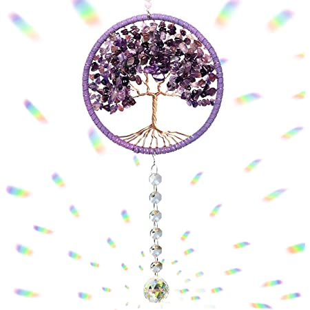 Handmade rose quartz pendant sun catcher hanging gem with wire and glass the stone of unconditional love trust and harmony