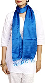 Gleamberry Womens Blue Handloom Pure Silk Stole