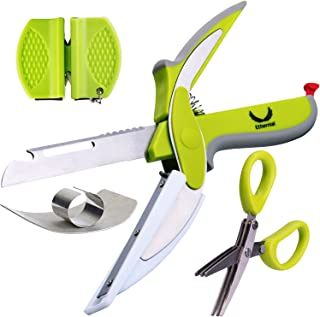 Ethernial Food Chopper Knife - Fast Cutter Non-slip + Herb Scissors, Finger Guard, Sharpener - Smart Kitchen Scissors with Built-in Cutting Board - Salad Scissor Set