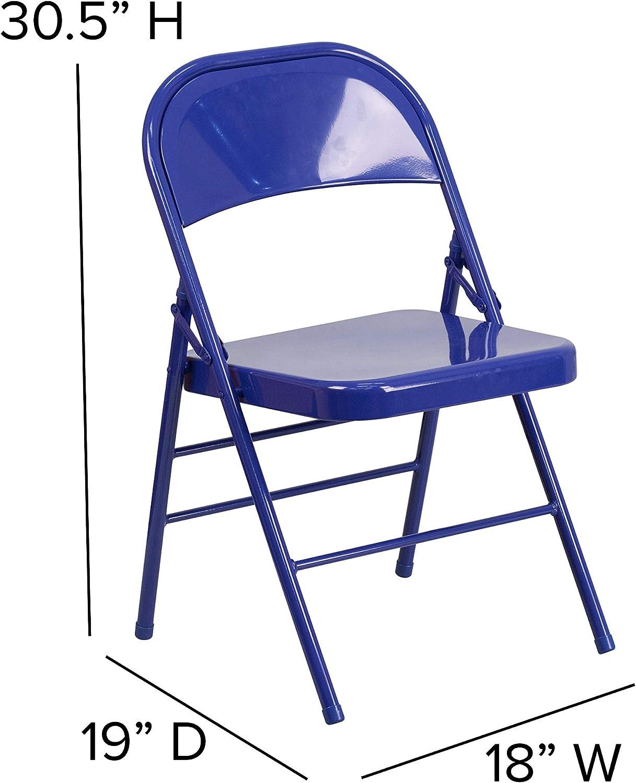 BizChair 2 Pack Cobalt Blue Triple Braced /& Double Hinged Metal Folding Chair