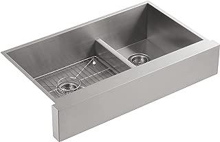 KOHLER Vault Double Bowl 18-Gauge Stainless Steel Farmhouse Apron Front Kitchen Sink , Undermount Installation K-3945-NA