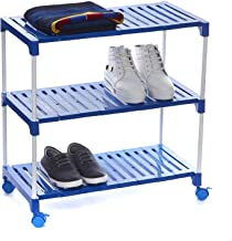 Smart Multipurpose Plastic Steps and Powder Coated Rods Foldable Shoe Racks for Home with Wheels - 3 Shelves (Blue), by Dhani Creations