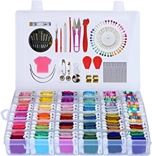 Embroidery Floss 218pcs Embroidery Thread String Kits with Organizer Storage Box Included 108pcs Colorful Friendship Bracelets Floss with Number Stickers&Floss Bobbins &110 Pcs Cross Stitch Tool Kits