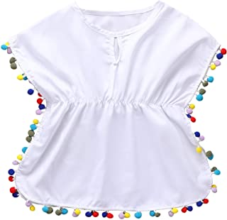 Azue Girls Swimsuit Cover Ups Bathing Suit Beach Dress Baby Girl Swimwear Wraps with Pompom Tassel Sarong Wrap Skirt