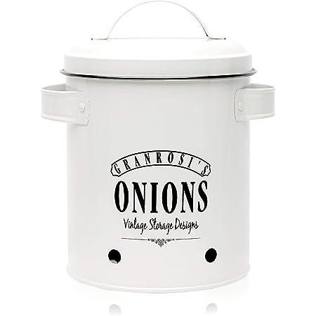 granrosi Pot à oignons – Récipient ANNÉES 1940, design vintage pour le Ajoutez une touche oignon Rangement Gris vintage