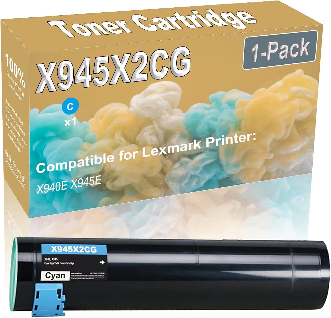 1-Pack (Cyan) Compatible X940E X945E Laser Printer Toner Cartridge (High Capacity) Replacement for Lexmark X945X2CG Printer Toner Cartridge