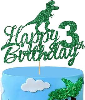 Anxdh Dinosaur Cake Topper 3rd Birthday, Sparkling Happy 3rd Birthday Dinosaur Cake Topper 3 Years Old Boys and Children R...