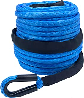 Ucreative 3//8 x 95 20500LBs Synthetic Winch Line Cable Rope with Sheath for Off Road Vehicle SUV Blue